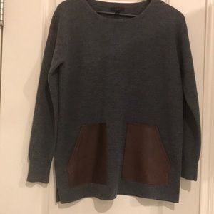 Jcrew gray sweater with leather accents